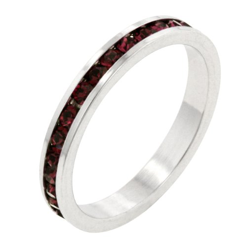 Ruby Red Cubic Zirconia CZ Stone Silver Tone Eternity Ring (Size 5,6,7,8,9,10)
