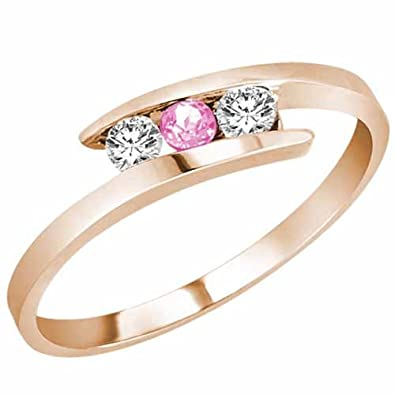 Ryan Jonathan Three Stone Pink Sapphire and Diamond Ring in 14K White Gold