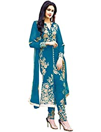 Muta Fashions Women's GEORGETTE Salwar Suit (SUIT153_02_TURQUOISE_FREE SIZE)