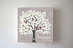 MuralMax - Custom Alternative Wedding Signature Book, 135 Leaf Tree, Stretched Canvas Wall Art, Anniversary Gifts, Unique Wall Decor, Color, Gray - 30-DAY Money Back Guarantee - Size 16 x 16