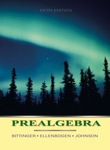 Pre-Algebra Textbook 5Th Edition By Bittinger