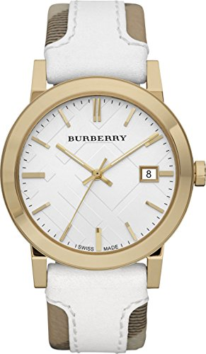 SALE! Authentic Burberry LUXURY RARE Gold Watch Womens Unisex Men The City Check Fabric White Authentic Leather Silver Dial Date BU9015