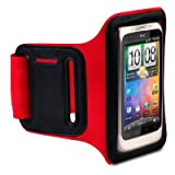 HTC Desire C And HTC Wildfire S Custom Made Shocksock Sports Jogging Gym Armband / Case / Cover / Holder - Redby Shocksock