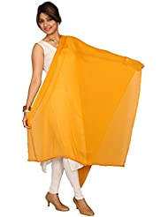 Heartly Pure Chiffon Solid Plain Dupatta With Pom Pom Lace Border - Hot Color