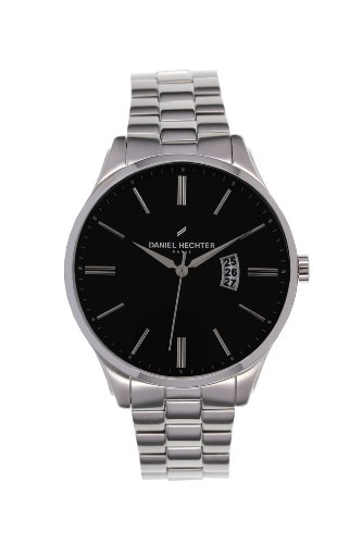 Daniel Hechter - 020 DHH/AM Men's Watch Analogue Quartz Black Dial Steel Strap Silver