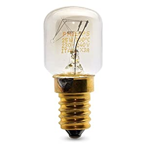 PHILIPS 25 WATT E14/SES OVEN LAMP LIGHT BULB 300 DEGREES - SMALL SCREW CAP FITTING
