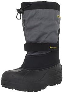 Columbia Powderbug Plus II Waterproof Winter Boot,Black/Intense Gold,1 M US Little Kid