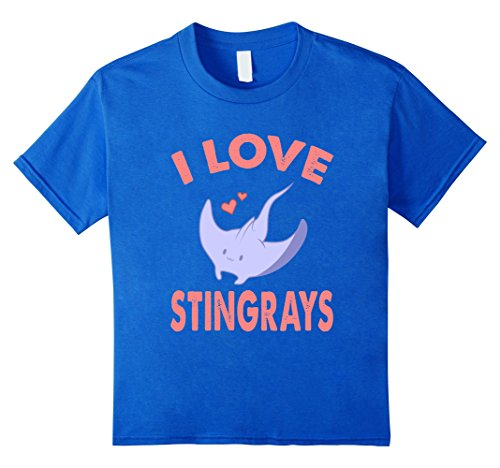 Kids SUPER CUTE I LOVE STINGRAYS T-SHIRT Funny Zoo and Sea Animal 6 Royal Blue