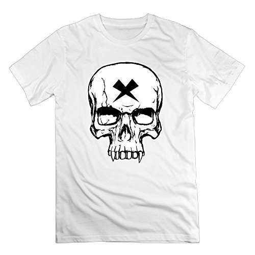 XOX-T Men's Vampire Skull Black And White T-shirt X-Small White