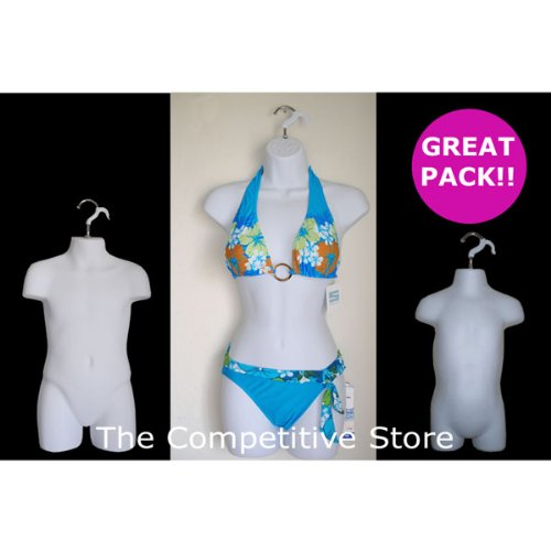 Female Dress Toddler And Child Mannequin Body Forms Set Of 3 Pcs - White