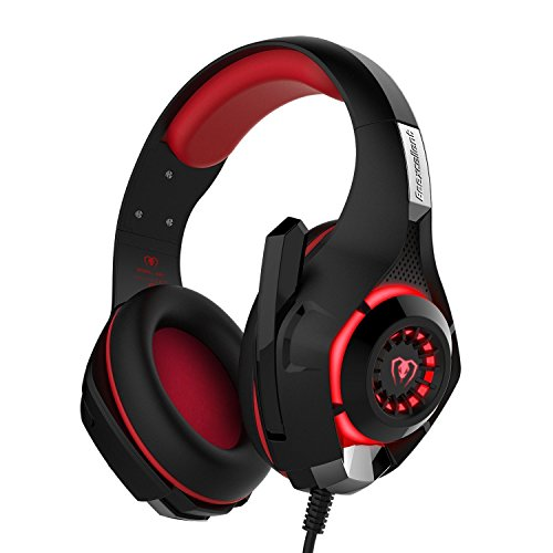 Gaming Headset, Over-Ear Gaming Headphones with Volume Control USB 3.5mm Noise Cancelling Earphones Built-in Mic Stereo Bass LED Light for PS4 PC Tablet Laptop (Red)