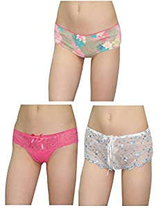 (Pack of 3) Womens Sexy Stretch Hipster Brief Panties M Multicolor