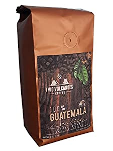 Two Volcanoes Whole Bean Coffee - Guatemalan Organic, Exclusive & Rare Single-origin Coffee From San Marcos, Guatemala. Medium Roast Beans. Cultivated, Processed & Packed in Origin to Guarantee Best Possible Flavor and Freshness. Great for Espresso. 1 lb Bag (16 oz)