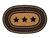 Country Style Black Tan Jute Rug Oval Stencil Stars 20x30