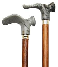Walking Cane with Contour Grip. Walnut Stain, Grey, Right Handle