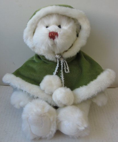 Winter White Teddy Bear with Green Hooded Cloak Stuffed Animal Plush Toy -12 inches tall