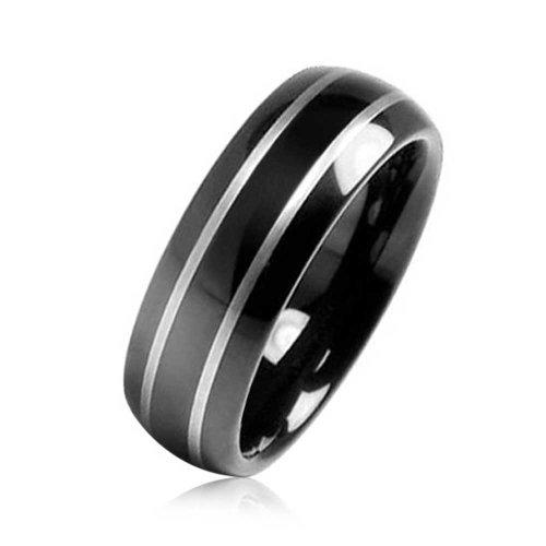 Bling Jewelry Black Tungsten finitura speculare Wedding Band anello 8mm con incisione gratuita