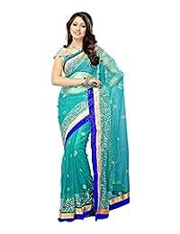 Bano Tradelink Women's Chiffon Saree (Blue) - B00WI6I6QY
