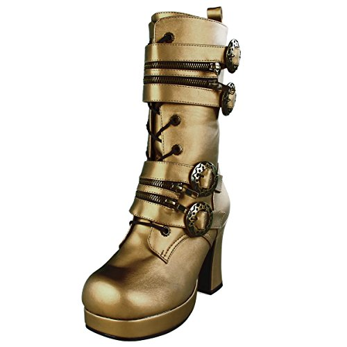 Womens-Bronze-Boots-3-34-Block-Heel-Ankle-High-Steampunk-Boots-Buckle-Straps