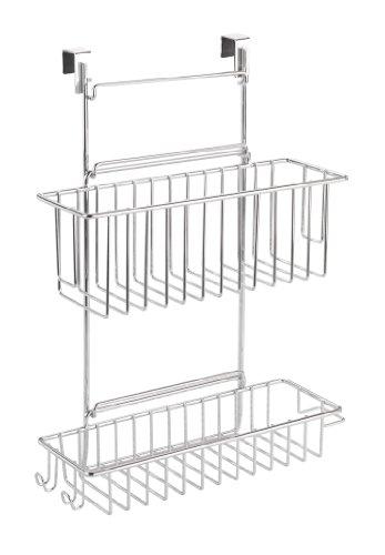 WENKO-8181100-Kchenschrank-Einhngregal-mit-2-Ablagen-verchromtes-Metall-32-x-47-x-125-cm-Chrom