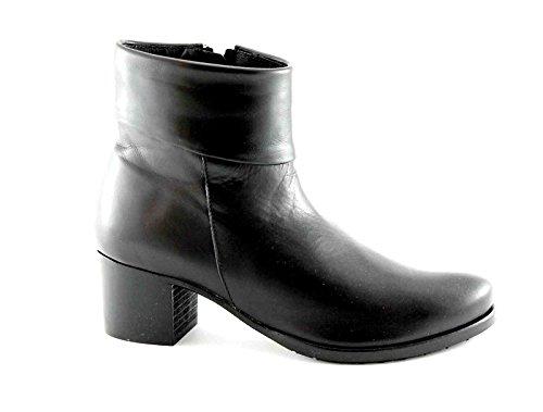 GRUNLAND KUSA PO1601 nero scarpe stivaletti donna tronchetti zip pelle 40