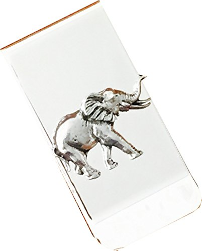 Chrome Polished Money Clip with Pewter Elephant Emblem