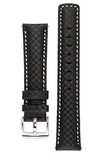 signature-carbon-black-with-white-18-mm-watch-band-replacement-watch-strap-genuine-leather-silver-bu