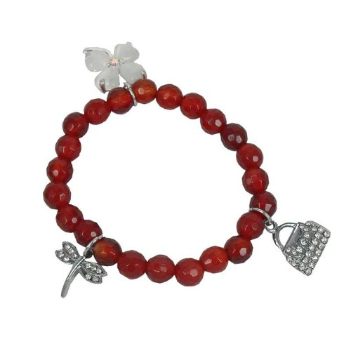 Bracelet made of carnelian and Charms