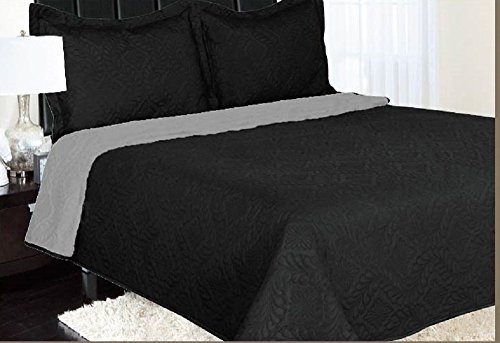 GorgeousHome 3-Piece High Quality Evelyn Black Gray QUEEN Reversible Fully Quilt Double Sided Bedspread Bed Coverlets Cover Set Pillow Cases Included (High Quality Quilts compare prices)