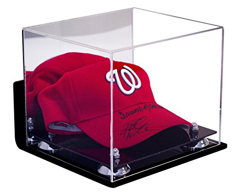 Deluxe Wall Mounted Acrylic Display Case for Sports Baseball Hat or Cap with Mirror with UV Protection (A006-SR) (Wall Mounted Bat Display Case compare prices)
