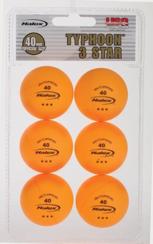 Halex Fusion 6-Pack 3-Star Table Tennis Balls (Orange)