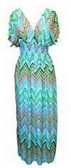 Exotic Tahiti Multicolor Border Print Maxi Dress