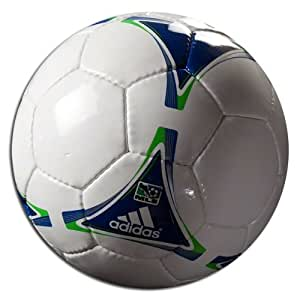 adidas 2012 MLS Replique Soccer Ball (White, Collegiate Royal, Intense Green, Size 3)