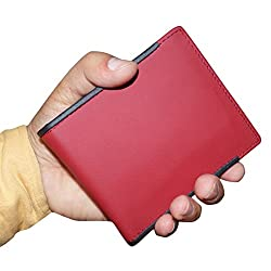 Style98 Pure Leather Black & Red Men Card Holder Wallet