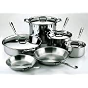 All-Clad 401488R Stainless Steel Tri-Ply Bonded Dishwasher Safe 10-Piece Cookware Set Silver