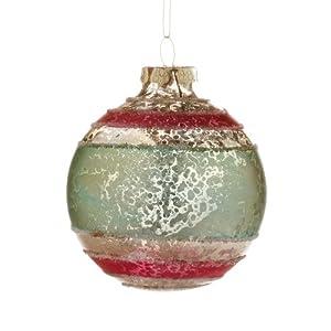 Department 56 Snowbabies by Kristi Jensen Pierro Dream Collection Crackle Stripe Ball Ornament, Ho 3-Inch