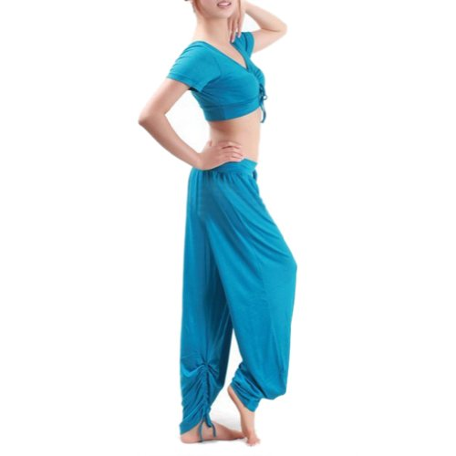 GOGO TEAM Women's Yoga Herem Pants & Top Set Belly Dance Costume Gym Outfit