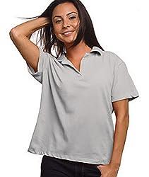 Bayside Ladies USA-Made V-Neck Polo, Red, Medium (Dark Ash)