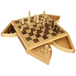 Jessica Chess Inlaid Wood Board Game with Wooden Pieces and 4 Drawers - 13 Inch Set