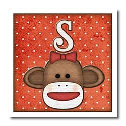 Dooni Designs Monogram Initial Designs - Cute Sock Monkey Girl Initial Letter S - Iron on Heat Transfers