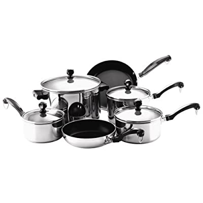 Farberware Cookware Set Steel Aluminum Stainless Steel Aluminum Aluminum Stainless Steel Glass 10 Pc