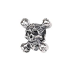 Genuine Zable (TM) Product. 925 Sterling Silver Skull And Crossbones Charm.