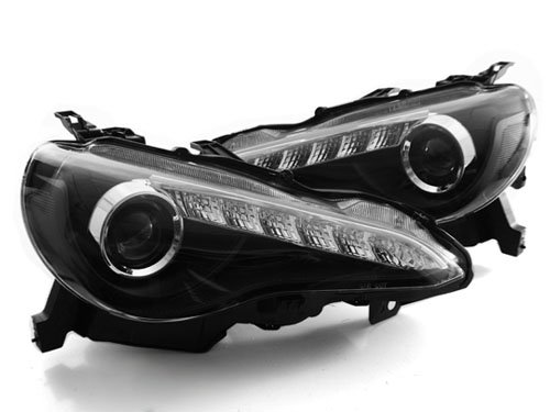 2013+ Scion Fr-S Jdm Style Led Drl Bi-Halogen Projector Headlights - Black (2013 2014)