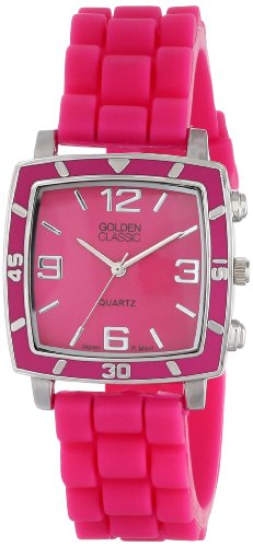 """Golden Classic Women's 2213-Pink """"Social Jelly"""" Trendy Square Rubber Strap Watch"""