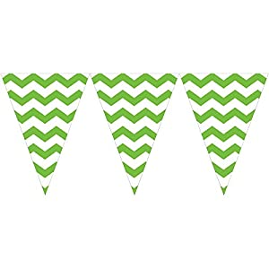 9ft Lime Green White Chevron ZigZag Pennant Party Flag Banner Bunting Decoration by Creative Converting