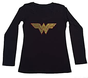 Womens Fashion T-shirt with Wonder Woman in Rhinestones