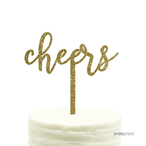 Andaz Press Party Acrylic Cake Toppers, Gold Glitter, Cheers, 1-Pack, New Years Decor 2017 2018 2019 2020
