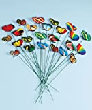 Set of 24 Garden Yard Planter Colorful Whimsical Butterfly Stakes
