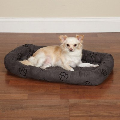 Slumber Pet Polyester Embroidered Paw Print Dog Crate Bed, X-Small, Charcoal front-671778