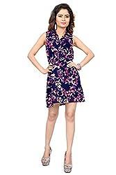 Trendif Navy Blue Poly Georgette Floral Print Party Wear Dress